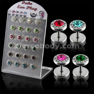 Multi Jeweled Fake Invisible Ear Plug in a Display