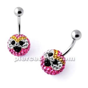 Multi Crystal stone STELLA Angry Bird Navel Ring