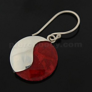 925 Sterling Silver Synthetic Red Coral Ying Yang Ear Ring