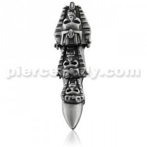 Full Finger Pewter Tri Skull Mummy Armor Ring