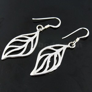 925 Sterling Silver Leaf cut out Fish Hook Earring