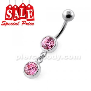Bezel Setting Round Gem Dangling Silver Navel Bar