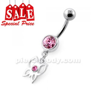 Fancy Jeweled Butterfly Dangling Silver Navel Bar