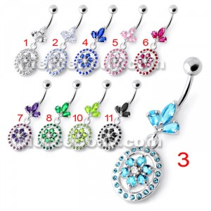 Flower in multi Jeweled Round Frame Navel Bar