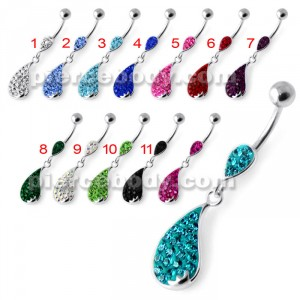 Jeweled Dangling Belly bar Banana PBM2081