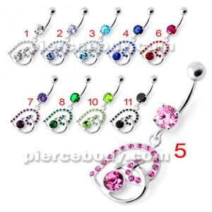 Multi Jeweled Heart Belly Bar PBM2090