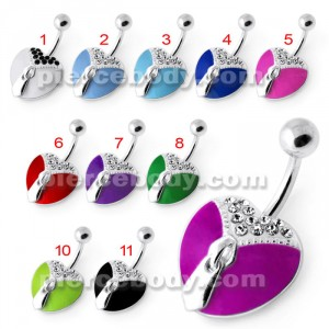Dangling Zip Colorful Resin Heart Navel Belly Bar