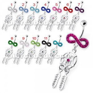 Infinity with Dream catcher Dangling Belly bar