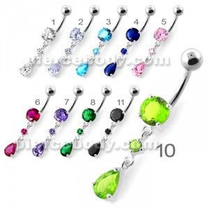 Fancy Jeweled Dangling Navel Belly bar PBM2107