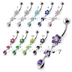 Jeweled Flower Leaf Hanging Navel Belly Bar
