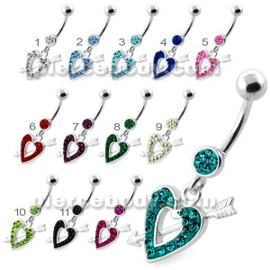 Multi Jeweled Heart and Arrow belly button ring