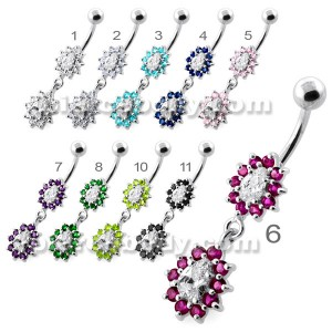 Fancy Jeweled cute belly button piercing