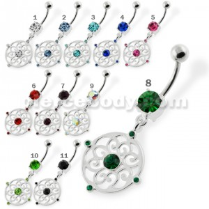 Jeweled Flower Pattern navel rings