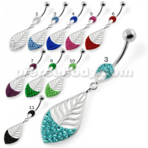 Half Jeweled Leaf Navel belly piercing