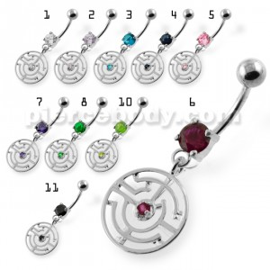 Jeweled Round Maze belly button ring