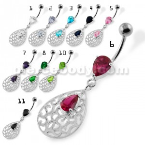Jeweled Tear Drop Pattern belly piercing
