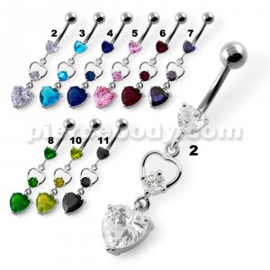 Jeweled Heart Cutout Navel Belly Piercing