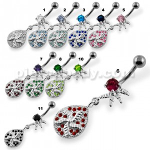 Multi Jeweled Pin Wheel Dangling Belly Button Piercing