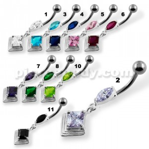 Jeweled 2D Pyramid Navel Belly Button Piercing