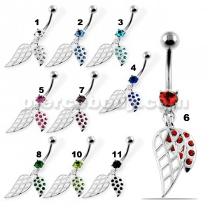 Dangling Jeweled Leaf Belly Button Piercing