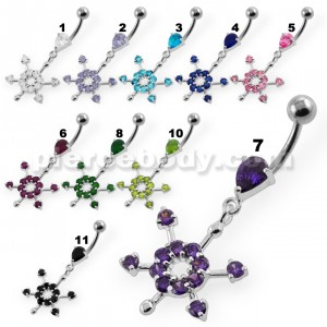 Fancy Flower Dangling  Navel Belly Button Piercing