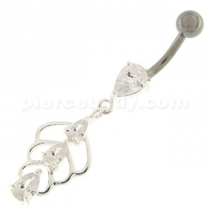 Triple Stone Jeweled Joining Belly Ring