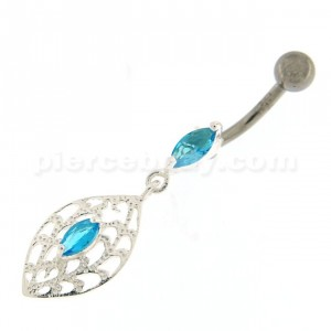 Fancy Ellipse Shape Dangling Belly Ring