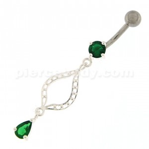 Ellipes Shape Dangling Belly Button Ring