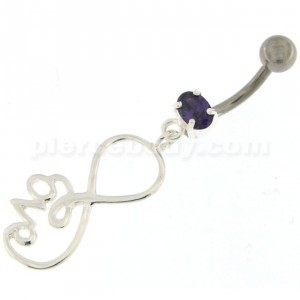 Infinity Love 925 Sterling Silver Belly Button Piercing