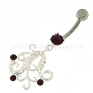Jeweled Floral Sterling Silver Navel Belly Piercing