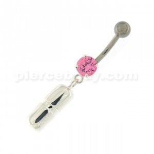 Dangling Capsule Navel Belly Button Ring