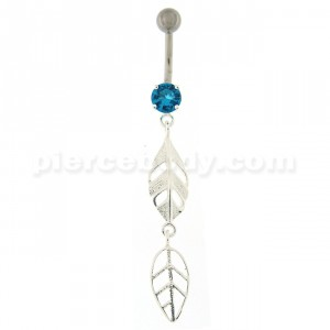 Fancy Dangling Leaf's Navel Belly Button Ring