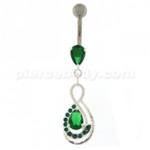 Tear Drop CZ with Fusion Infinity Dangling Belly Button Ring