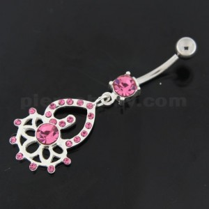 Half Flower and Heart Multi Jeweled Silver Belly Button Ring