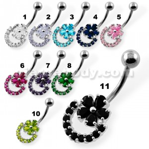Jeweled Flower Navel Belly Button Piercing