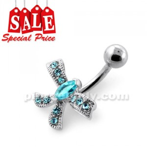 Jeweled Bow Silver Navel Bar