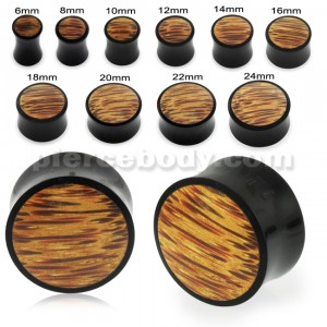 Organic Palm Wood Covered By Horn Ear Plug Gauges