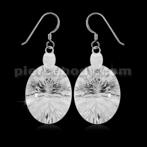 925 Sterling Silver Sparkling White Oval cubic zirconia Hook Ear Ring