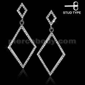 925 Sterling Silver Cubic Zirconia Diamond-shaped Dangle Ear ring Stud