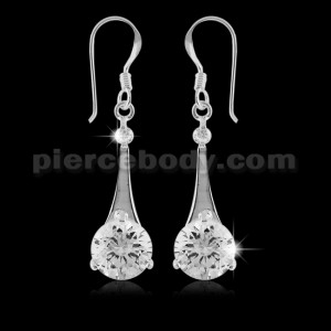925 Sterling Silver Dangling Round CZ Ear Ring