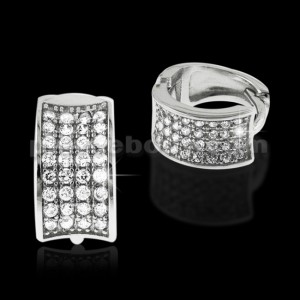 925 Sterling Silver Micro pave Cubic Zirconia Cuff Hoop Ear Ring