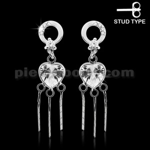 925 Sterling Silver Circle with Heart Cubic Zirconia Ear Stud