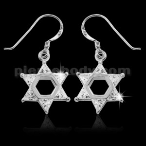 925 Sterling Silver Hexagon Star Cubic Zirconia Hook Ear Ring