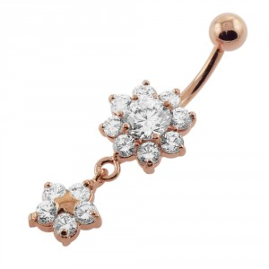 14G Moving Jeweled Flower Navel SS Banana Bar Ring