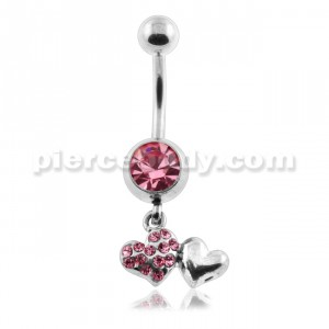 Dangling Multi Jeweled Heart Belly Button Ring