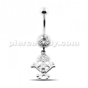 Dangling Jeweled Skull Navel Belly Ring