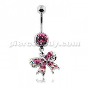 Dangling Multi Jeweled Bow Navel Belly Ring