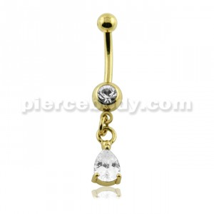 PVD Gold Hanging Jeweled Tear Belly Button Piercing