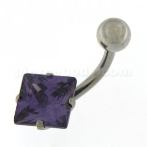 8mm Jeweled Square Surgical Steel Navel Belly Ring
