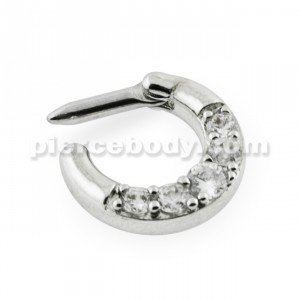 Five Pronged Clear CZs Septum Clicker Ring